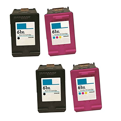 Generic Remanufactured Ink Cartridge Replacement for 2X HP CH563WN Plus 2X CH564WN, 2 Black, 4 Piece