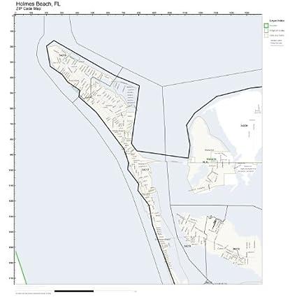 Holmes Beach Florida Map.Amazon Com Zip Code Wall Map Of Holmes Beach Fl Zip Code Map Not