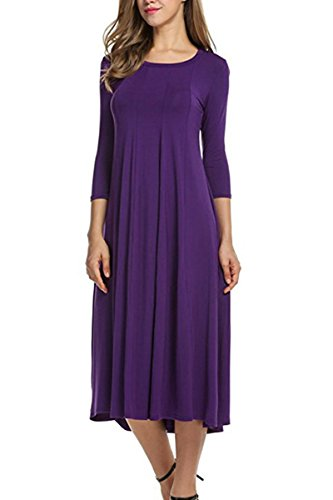 Boosouly Women's 3/4 Sleeve Round Neck Casual Loose T-Shirt Dress Evening Party Purple M (Scoop Neck Drop Waist Dress)