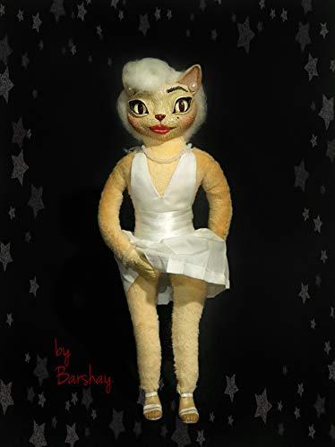 (Marilyn Monroe Cat doll toy Stuffed soft cat girl kitten doll Home design decor Cute art creature Music star)