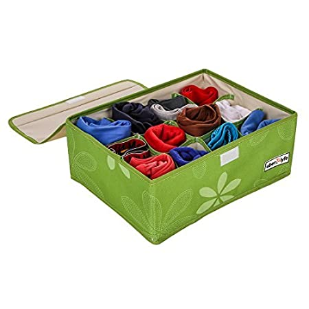 Uberlyfe 12 Cell Drawer Closet Divider Storage Box Storage Boxes for Clothes, Shoes, Undergarments, Socks with Lid (Color Green) - (Uw-000166-Grwl12C) Lidded Storage Bins at amazon