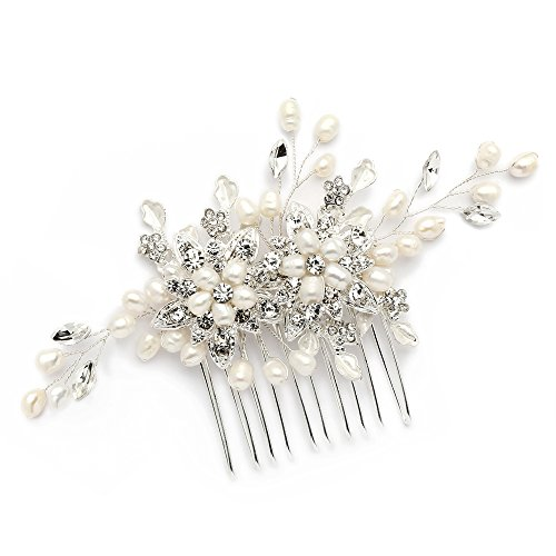Mariell Genuine Freshwater Pearl Wedding Hair Comb - Designer Bridal Headpiece with Crystal Sprays
