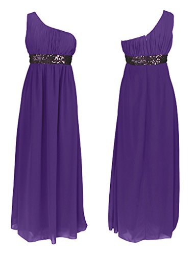 Fashion para mujer One de casa de diseño de larga vestido con diseño de lentejuelas y vestir para el hombro morado (real)