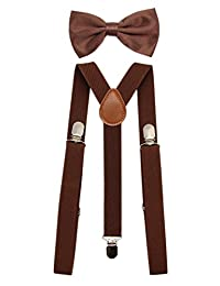 JAIFEI Men's Adjustable Strong Clip-on Suspender & Bow Tie Set for Wedding (Coffee)