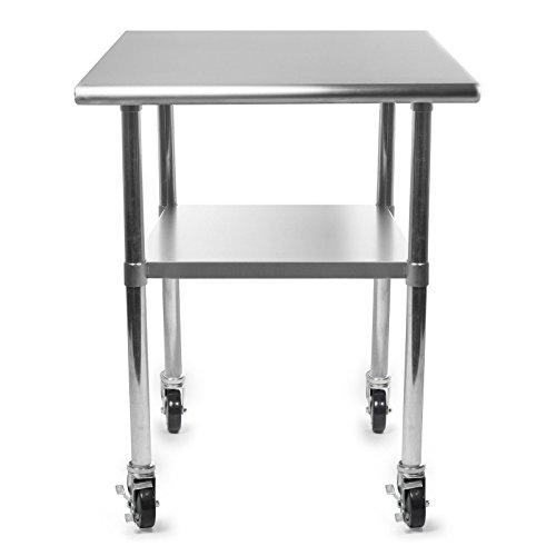 Rounded Edges 4 Caster Commercial Stainless Steel Kitchen Work Food Prep Table 24'' x 36'' w/ Under Shelf by FDInspiration