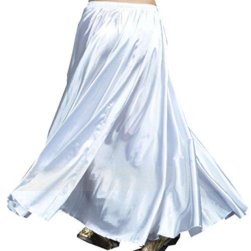 MUNAFIE Belly Dance Satin Skirt Arabic Halloween Shiny Skirt Fancy Full Skirt US0-14 White