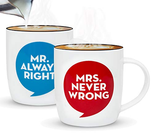 Gifffted Mr Always Right Mrs Never Wrong Couple Gifts Mugs, Funny His and Hers Wedding Anniversary Gift Couples Engagement Presents For Men,Women Day,Him,Her,Mum,Dad Birthday,Parents,Coffee Mug,Cups