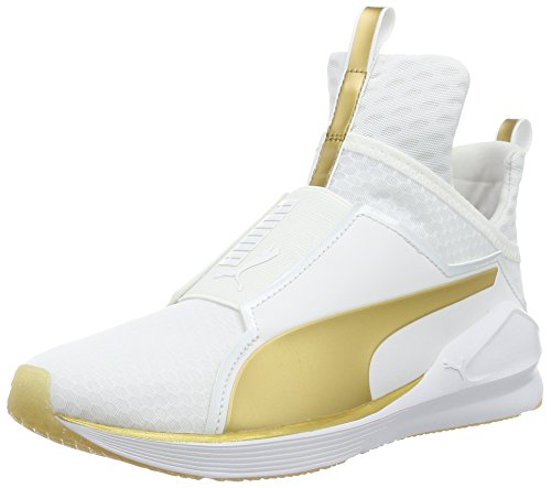 Puma Fierce Gold Damen Hohe Sneakers, Weiß (WHITE-GOLD 01), 38 EU
