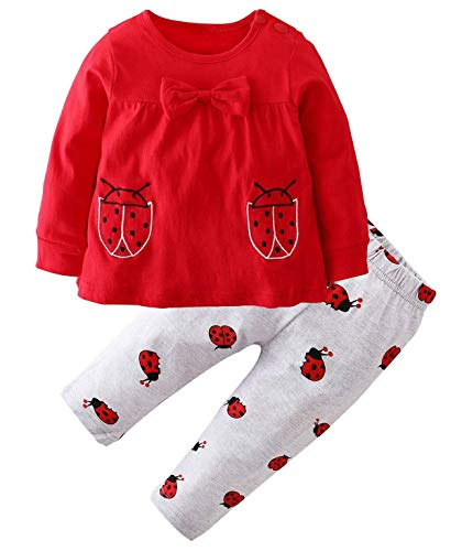 Happy Town 2Pcs Baby Girls Clothes Set Ladybug Pattern Long Sleeve Toddler Outfits + Pants (Red, 6-12 Months)