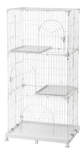 IRIS 3-Tier Wire Pet Cage, White (Cat Metal Cage)