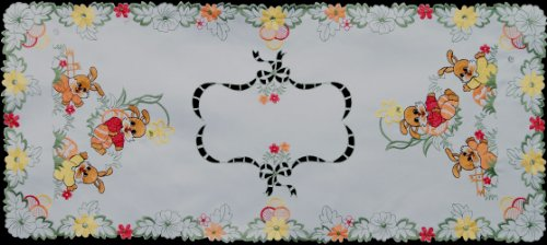Die Cut Easter Egg Table - Creative Linens Embroidered Easter Bunny Egg Floral Table Runner 15x34 White