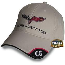 Corvette C6 Hat Cap in Bone Includes Racing Decal