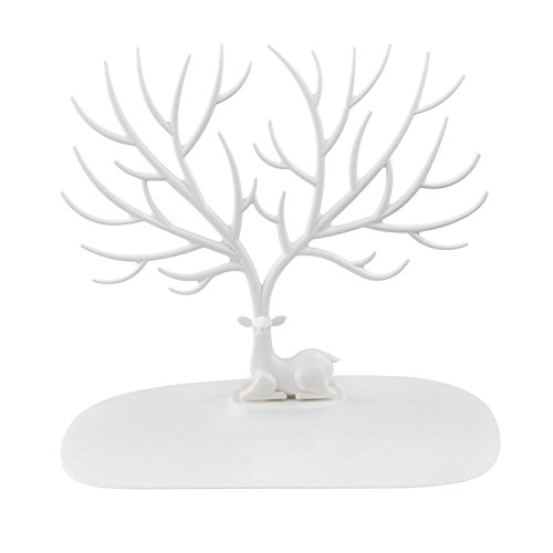Jewelry Organizer Stand Display Tower, Earring Bracelet Ring Necklace brooches Holder Jewelry Rack - ABS Material Deer Tree-White