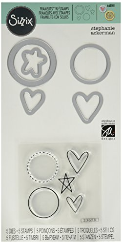 Framelits Stamp (Ellison Sizzix Circles, Icons, Hearts and Star Framelits Die Set with Stamps by Stephanie Ackerman (5 Pack))