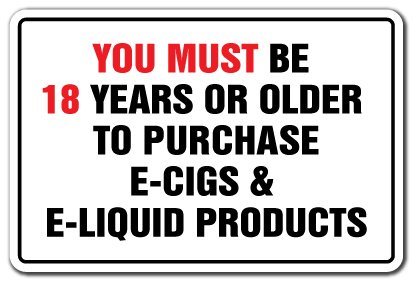 "Price comparison product image You Must Be 18 Years To Purchase E-cig E-liquid Vape [3 Pack] of Vinyl Decal Stickers | 3.3"" X 5"" 