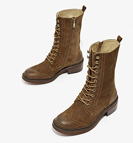 Botas De Martin Mujeres Botines Mujer Plana Scrub Retro Británico Viento Cuero Feos Zapatos Botas De Motos,Darkcoffee,40Uk: Amazon.es: Ropa y accesorios