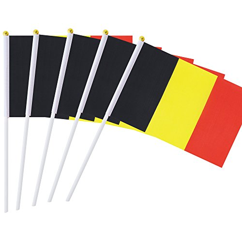 Hand Held Belgium Flag Belgian Flag Stick Flag Mini Flag 50 Pack Round Top National Country Flags, Party Decorations Supplies For Parades,World Cup,Sports Events,International Festival (8.2 x 5.5)