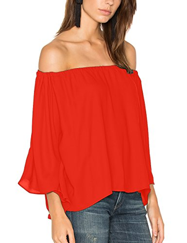 ALLY-MAGIC Women's Off Shoulder Tops Short Sleeves Shirt Strapless Blouses C4734 (M, Red) (Red Off Shoulder)