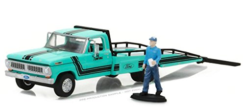GREENLIGHT 1:64 HOBBY EXCLUSIVE - 1967-72 FORD F-350 RAMP TRUCK WITH TRUCK DRIVER FIGURE DIECAST TOY CAR 29892 (1967 Ford Trucks)