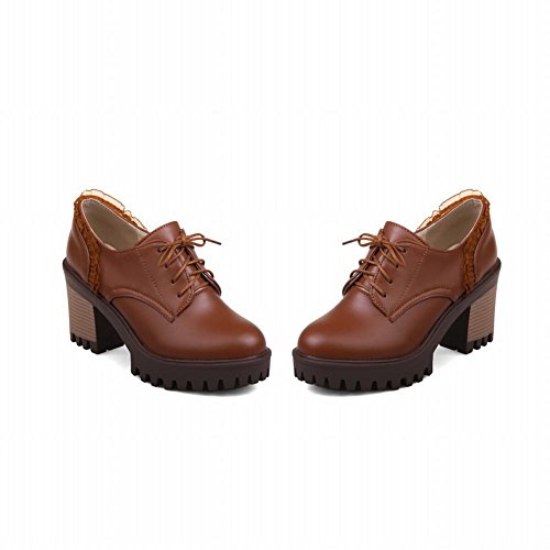 Oxfords Lacing Shoes Shine Show Chunky Platform Chic Brown Laces Heel Women's 8nqY1