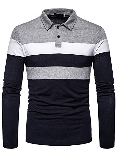 Mens Long Sleeve Polo Shirt Casual Stripe Tops Pullover Basic Multicolor T-Shirt