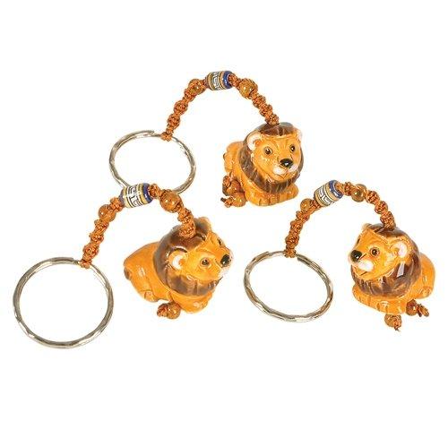 CERAMIC LION KEY RING, Case of 36