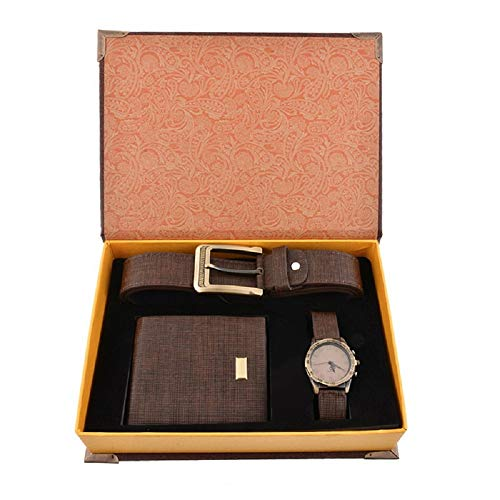 Souarts Gift for Men-Watch Set for Men Artificial Leather Watch+Rachet Belt+Wallet Gift Set with Box Organizer - Regal Watch Box