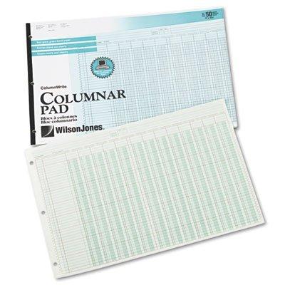 Wilson Jones G7213A Columnar Pad,13 Columns,50 Shts,11'' x16-3/8, Green