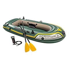 Seahawk II Set Lake Boat Marketing Information: The Intex Seahawk II seats four people and come with oars, an inflation pump, gear pouch, and battery pouch. It features two air chambers for safety, all-around grab rope, grab handles on both e...