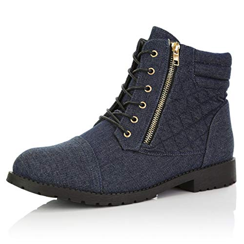 DailyShoes Women's Military Lace Up Buckle Combat Boots Ankle High Exclusive Credit Card Pocket, Blue Denim, 6.5