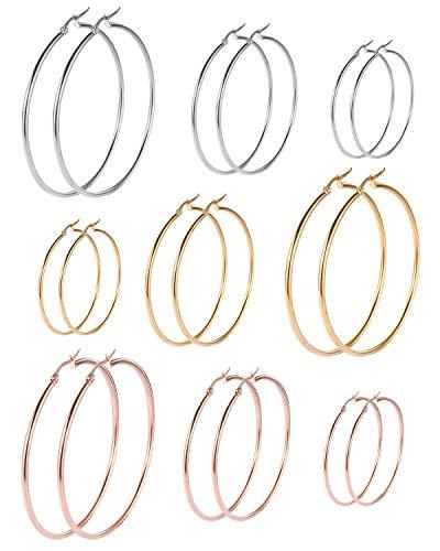 Stainless Steel Hoop Earrings Set Cute Huggie Earrings Gift for Women Girls Boys Men Fashion Jewelry (9 Pairs hoop - Mens Drop T-shirt Them