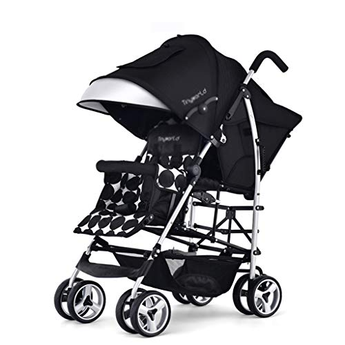 OCYE Double Stroller Convenient City Twin Stroller Double Foldable Stroller All Terrain Double Stroller Suitable for Toddler Girl and boy Stable Stroller Frame Organizer, Black