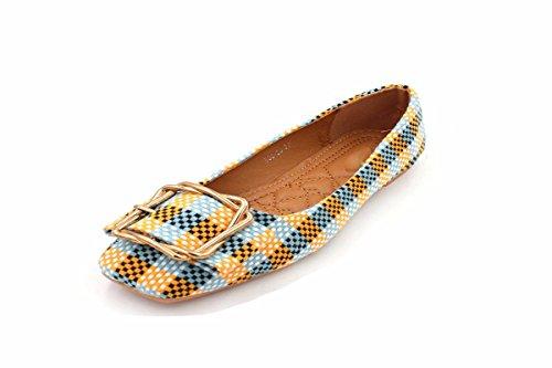 Carre Femmes Color thirty Slip five Jaune Printemps Mtal En Kphy Tissu Boucle Anti Shallow Carr Tte Chaussures 50AOxqP