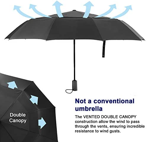 Smoke Lines Curls Dark Compact Travel Umbrella with Windproof Double Canopy Construction Auto Open//Close Button