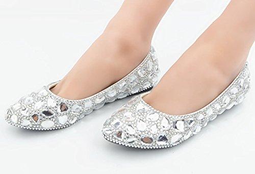 CSDM DONNE Scarpe da sposa Scarpe di cristallo pieno di pietra preziosa bianca scarpe di abito da sposa scarpe piane fatte a mano , flat reservation , 39