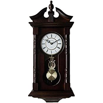 Vmarketingsite Wall Clocks: Grandfather Wood Wall Clock With Chime.  Pendulum Wood Traditional Clock.