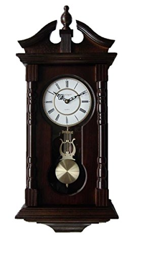 Wall Clocks: Grandfather Wood Wall Clock with Chime. Pendulum Wood Traditional Clock. Makes a Great House Warming or Birthday Gift. vmarketingsite Wall Clock Chimes Every Hour With Westminster Melody