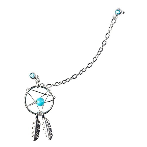 BODYA Silver Cute Dream catcher Handcuff Feather Dangle ear-cuff Barbell Cartilage earrings Chain genuine blue - Barbell Dangling Chain