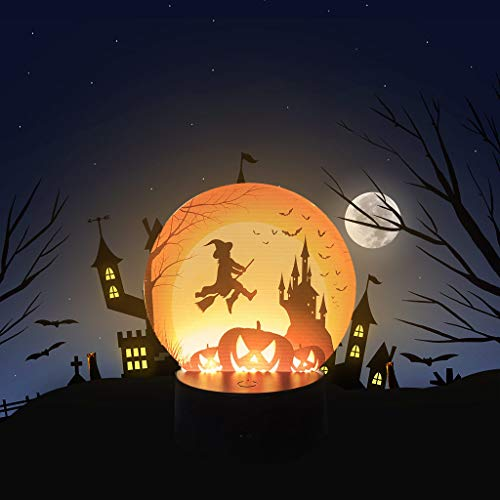 Gotian Halloween Pumpkin Bat Pattern Night Light, Scene Layout Props Night Decoration, Easy to Assemble and Disassemble, Highly Decorative, Suitable for Halloween (B)