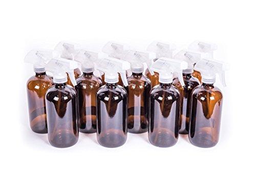 Zenxoilz 8oz Amber Glass Bottle with Trigger Sprayer for Essential Oils (12-pack)