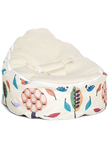 Chibebe Woodlands Cream Snuggle Pod Baby Bean Bag Base Cover - Removable Inner Filling Bag Beans - Washable Nylon Blend Material Seat