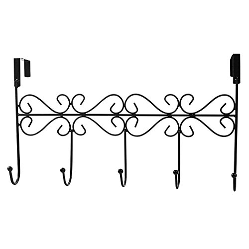 Rbenxia Over the Door 5 Hanger Rack Decorative Metal Hanger Holder for Home Office Use, Black