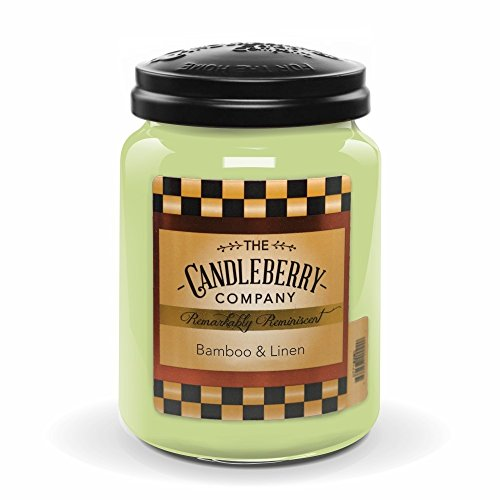 Candleberry Bamboo & Linen, Fine Fragrance Candle for The Home, Large Glass Jar, 26 oz ()