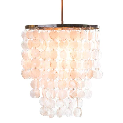 - Capiz Chandelier Centerpiece Suitable for High and Low Ceiling Rooms. Brushed Nickel Pendant Light Fixture Provides Warm Multidirectional Lighting. Round Hanging Lamp Creates Contemporary Atmosphere.