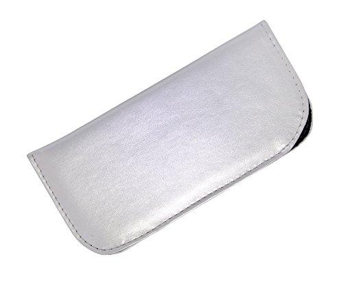 Soft Slip In Eyeglass Case For Women - Faux Leather Slip Case in Metallic Silver
