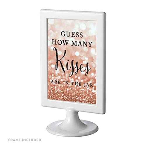 Party Large Framed Print - Andaz Press Framed Wedding Party Signs, Glitzy Rose Gold Glitter, 4x6-inch, Guess How Many Kisses are in The Jar, 1-Pack
