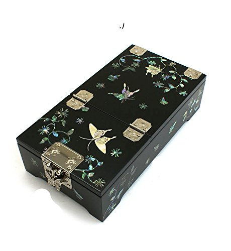 Mother of Pearl Butterfly Design Jewelry Box Nacre with Mirror Jewellry Case,trinket Gift by JMcore High Quality Jewelry Box