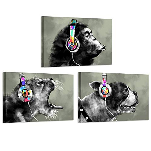 iKNOW FOTO 3 Piece Modern Gorilla Monkey Music Canvas Art Wall Painting Abstract Animal Happy Dog and Leopard Decor Artwork Picture Home Decoration 16x24inchx3pcs ()