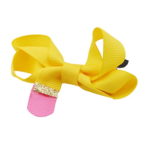 Iumer Children Girl Hair Clip Handmade Solid Ribbon Pencil Hair Bow Students Cute Hair Accessories Cloth Headdress,Yellow