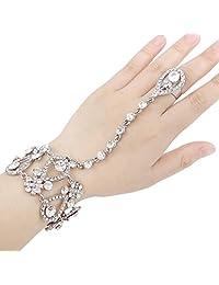 Ever Faith 1920 Style Inspired Flower Clear Austrian Crystal Adjustable Ring Bracelet Set A06955-2